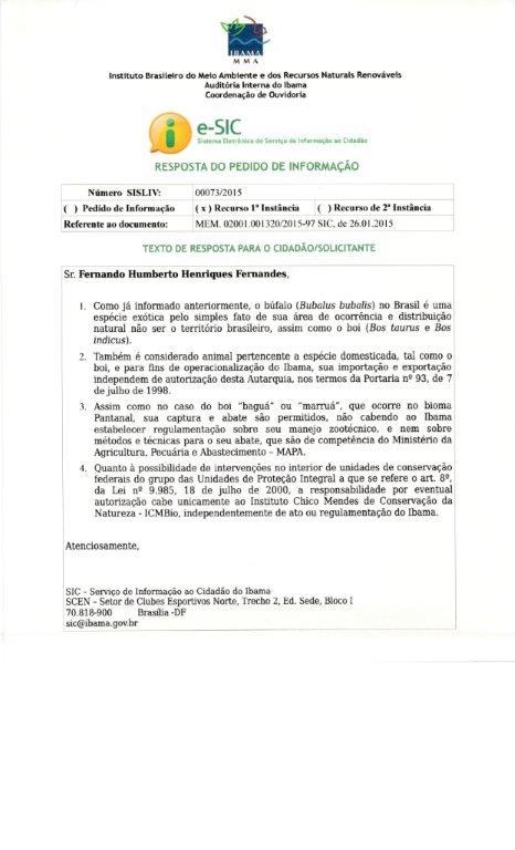 Resposta do IBAMA sobre consulta da Confederação - Pedido de Informação.