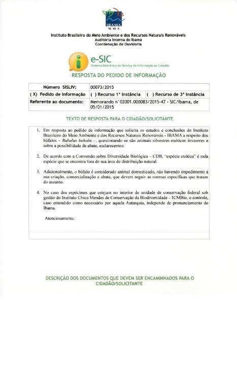 Resposta do IBAMA sobre consulta da Confederação - Recurso 1ª Instância.